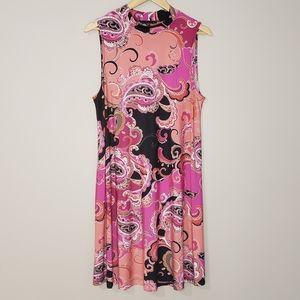 Tiana B. Sleeveless Pink Paisley XLarge Dress